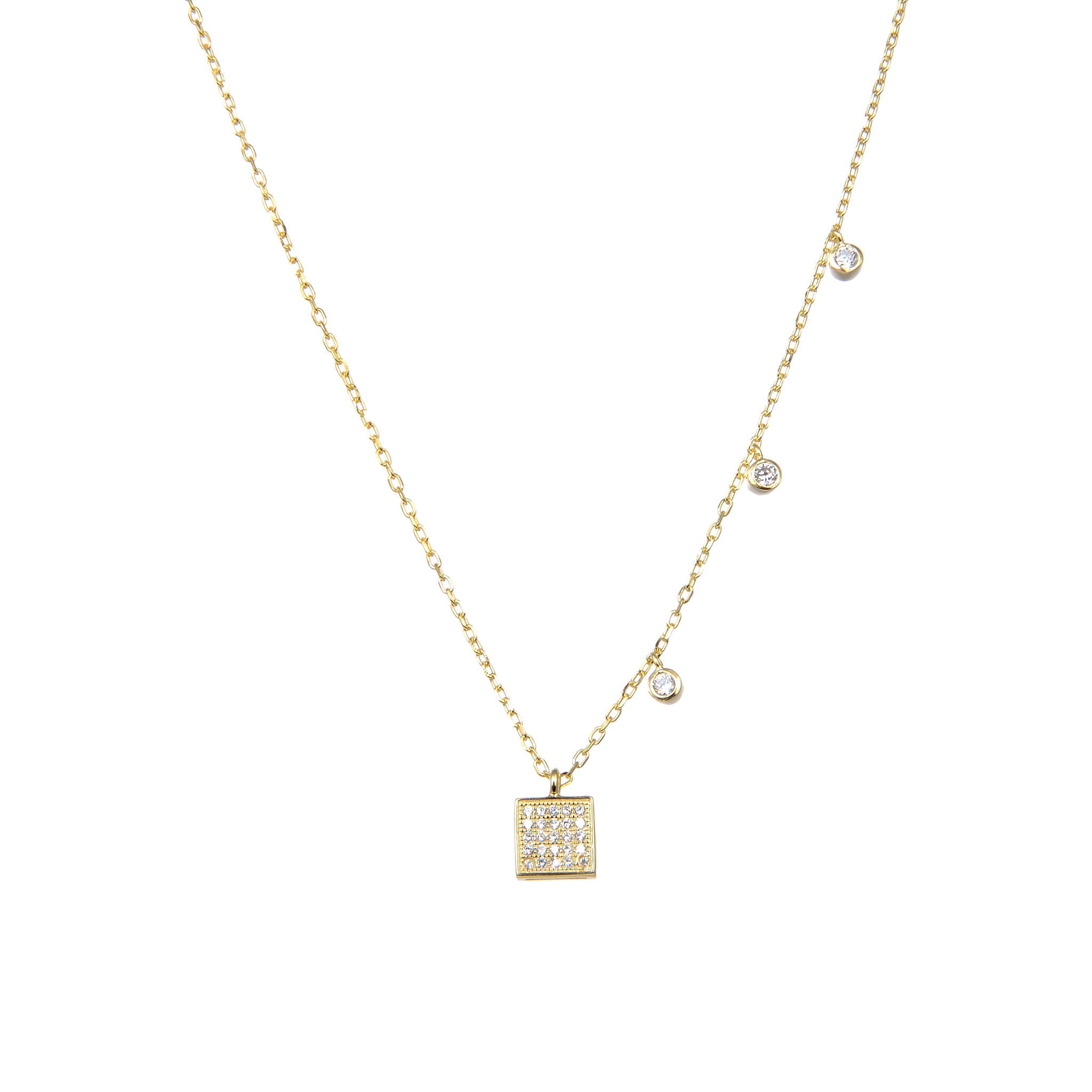 92.5 Sterling Silver CZ Cubic Zirconia Square Shape Pendant with Sterling Silver Necklace Chain