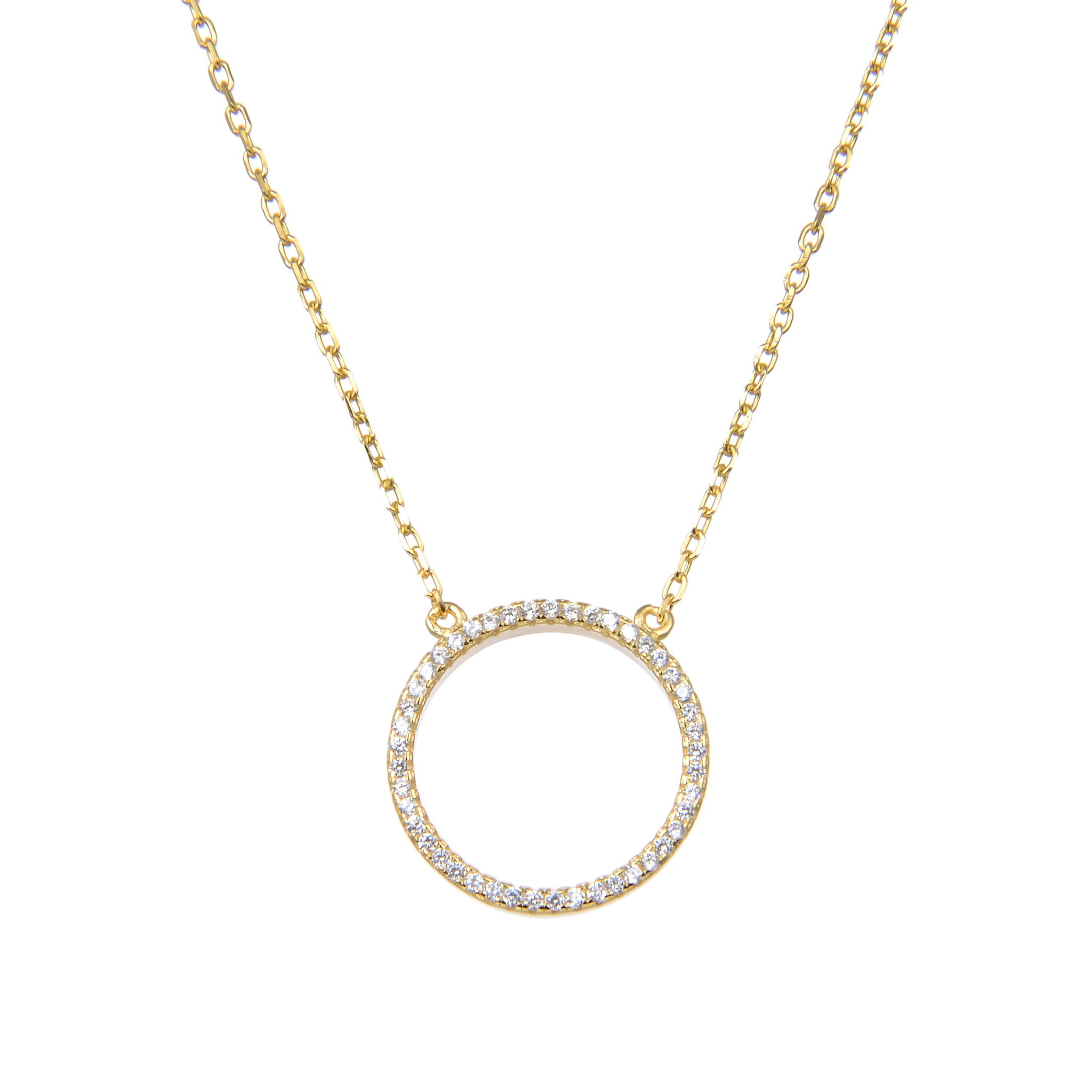 92.5 Sterling Silver CZ Cubic Zirconia Gold Plated Circle Shape Pendant with Sterling Silver Necklace Chain
