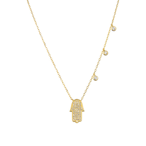 92.5 Sterling Silver Cubic Zirconia Gold Plated Hamas Hand Shape CZ Pendant with Sterling Silver Necklace Chain