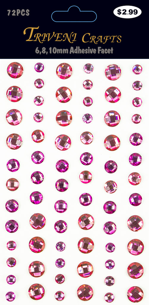 Rhinestone Facet Stickers - 6-10mm - Pink