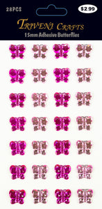 Rhinestone Butterfly Stickers - 15mm - Pink