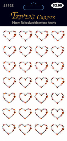 Rhinestone Heart Stickers - 14MM - Red/Clear
