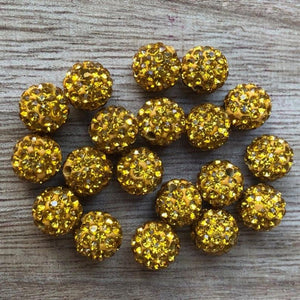 Rhinestone Pave Ball Beads, Rhinestone Clay Disco beads 10mm 50 Beads