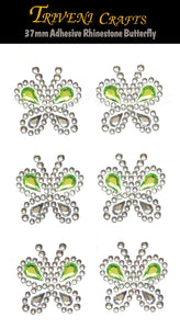 Rhinestone Stickers, Adhesive Butterfly Green Rhinestone Big Size Stickers