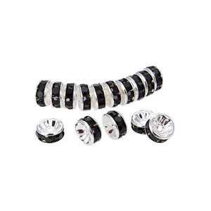 Bright Silver Plated 10 mm Black Crystal Rondelle Spacer Beads 200 Pcs
