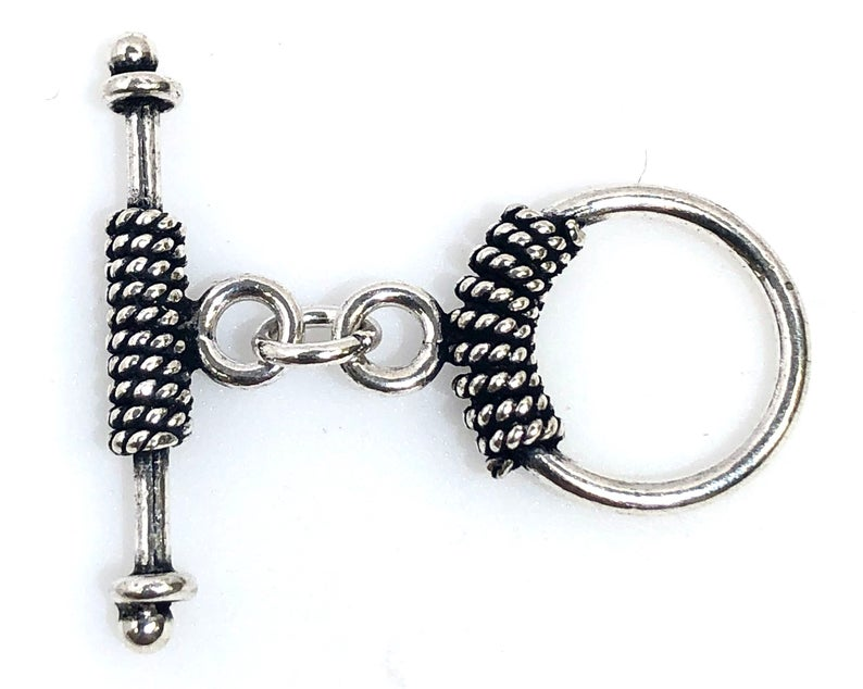 92.5 Sterling Silver Toggle Clasp, Solid Sterling Silver 20 mm Toggle Clasp Connector