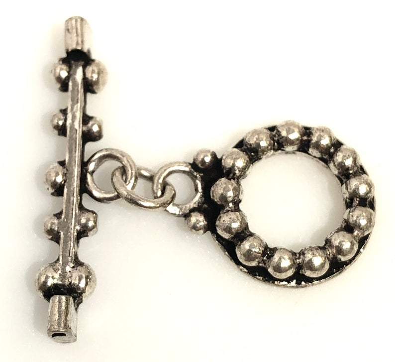 92.5 Sterling Silver Toggle Clasp, Solid Sterling Silver Toggle Clasp Connector 18 mm