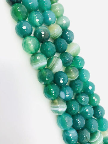 Natural Green Indian Agate Beads, Agate Smooth Beads, Round 14mm Beads