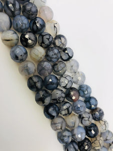 Natural black And White Indian Agate Beads, Agate Smooth Beads, Round 8mm Beads