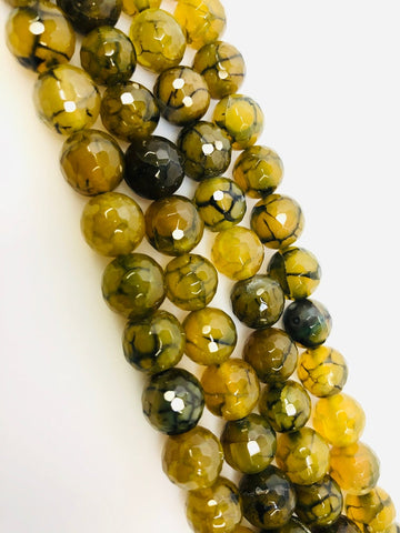 Natural Yellow Indian Agate Beads, Agate Smooth Beads, Round Shape Agate Beads