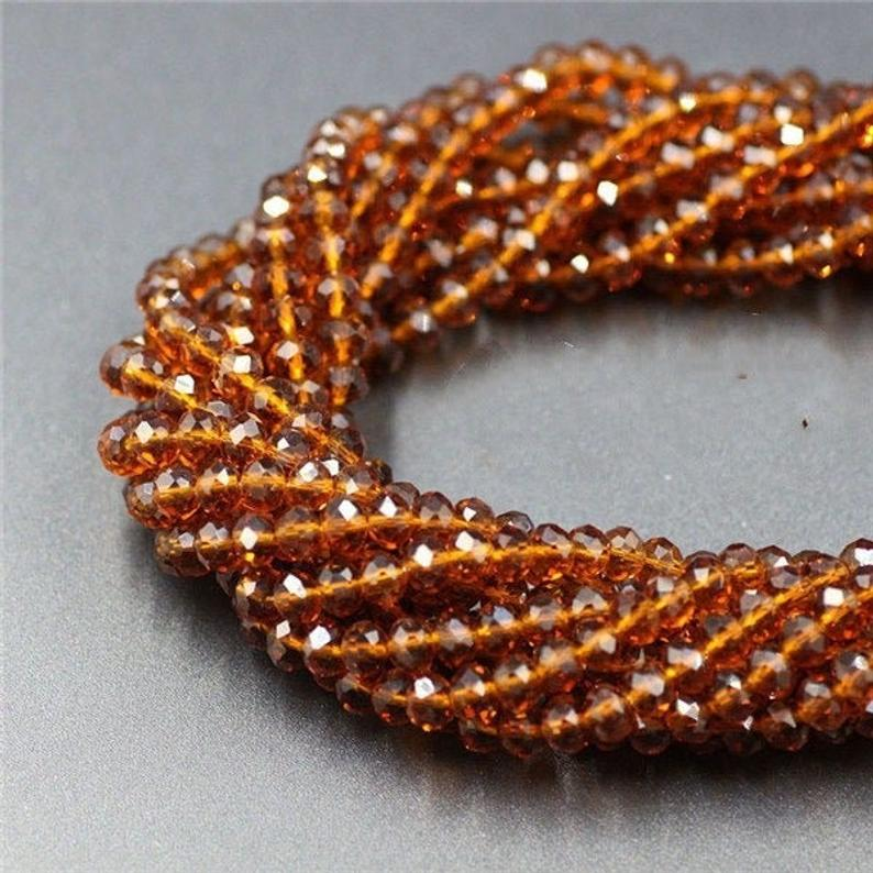 Crystal Beads, Crystal Rondelle Topaz 6mm 6 Strands Beads