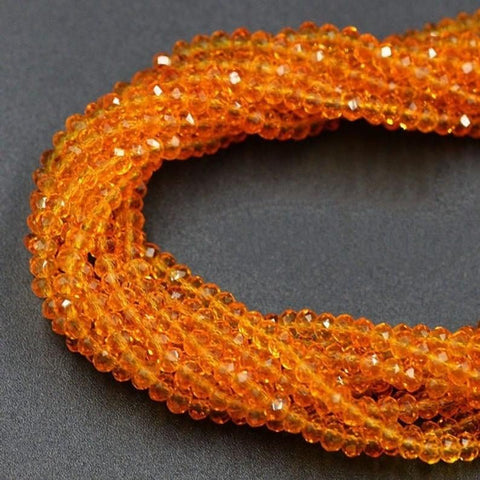 Crystal Beads,  Orange Crystal Rondelle 6 mm 6 Strands Beads
