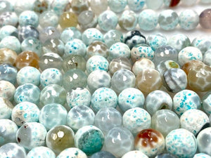 Natural Aquamarine Agate Beads, 8mm Faceted Round Beads