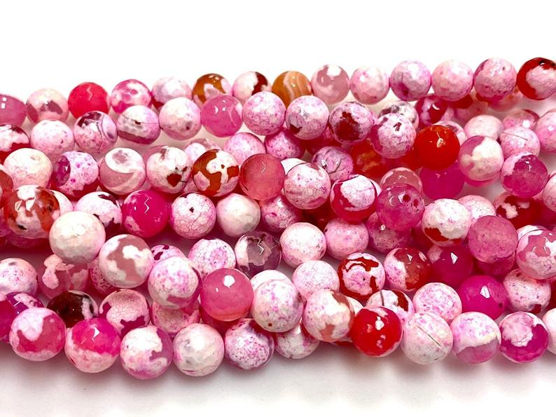 Natural Pink Agate Beads, Faceted 8mm Round Beads