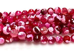 Natural Pomegranate Red Agate Beads, 8mm Faceted Round Beads