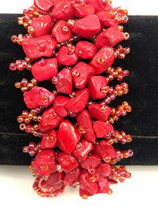 Red Coral and Seed Beads Bracelet, Coral and Seed Bracelet 7.5 Inch long