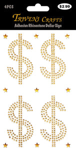 Rhinestone Stickers, Adhesive Rhinestone Dollar Sign Stickers