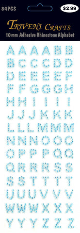 Rhinestone A-Z Letters - Turquoise