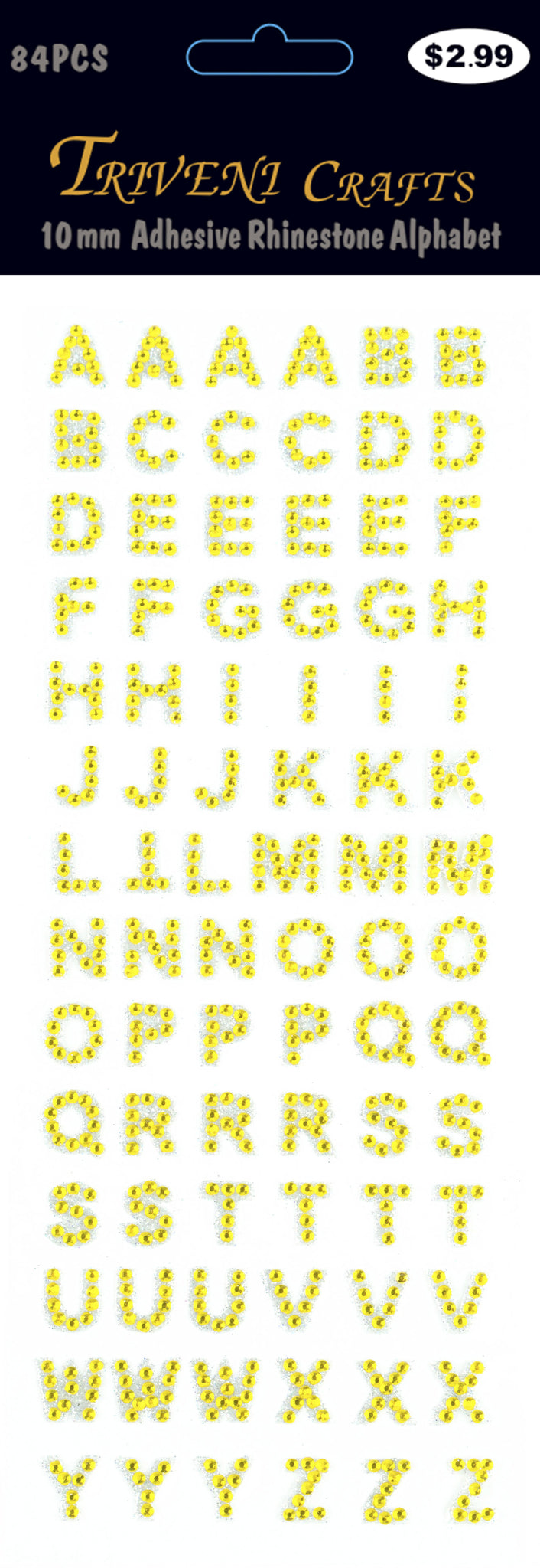 Rhinestone A-Z Letters - Yellow