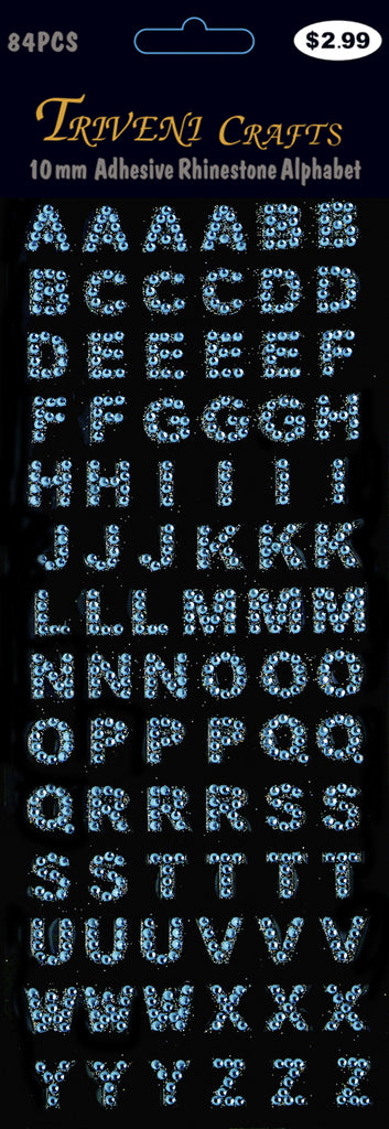 Rhinestone A-Z Letters - Light Blue
