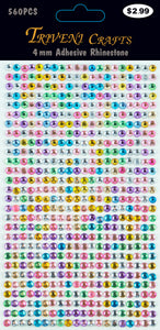 Rhinestone Dot Stickers - 4mm - Multi