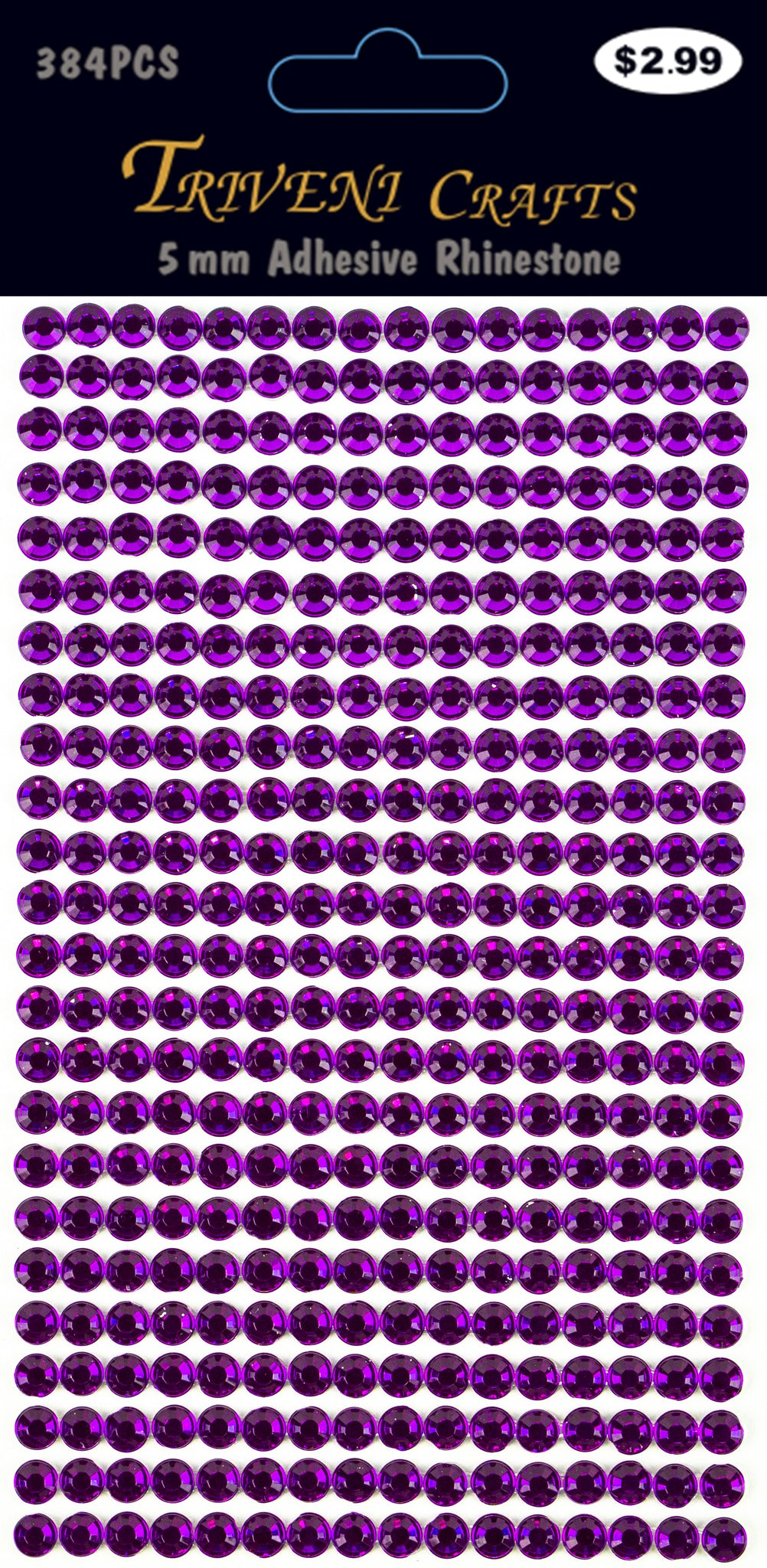 Rhinestone Dot Stickers - 5mm - Magenta