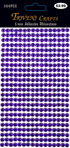 Rhinestone Dot Stickers - 5mm - Dark Purple