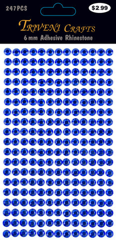 Rhinestone Dot Stickers - 6mm - Navy