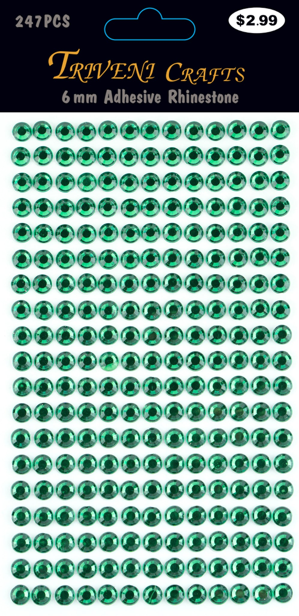 Rhinestone Dot Stickers - 6mm - Emerald