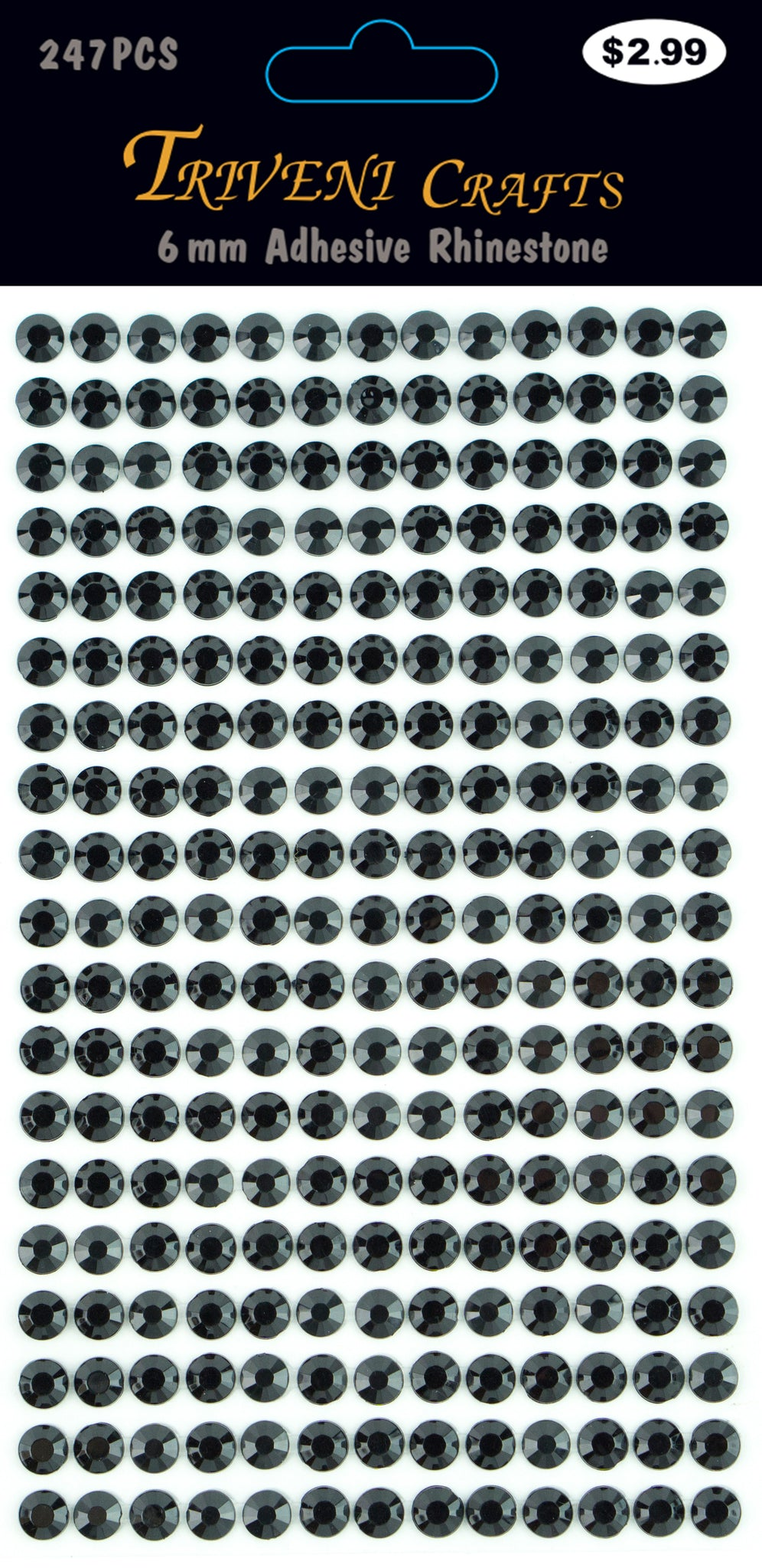 Rhinestone Dot Stickers - 6mm - Jet Black