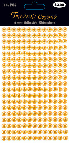 Rhinestone Dot Stickers - 6mm - Orange