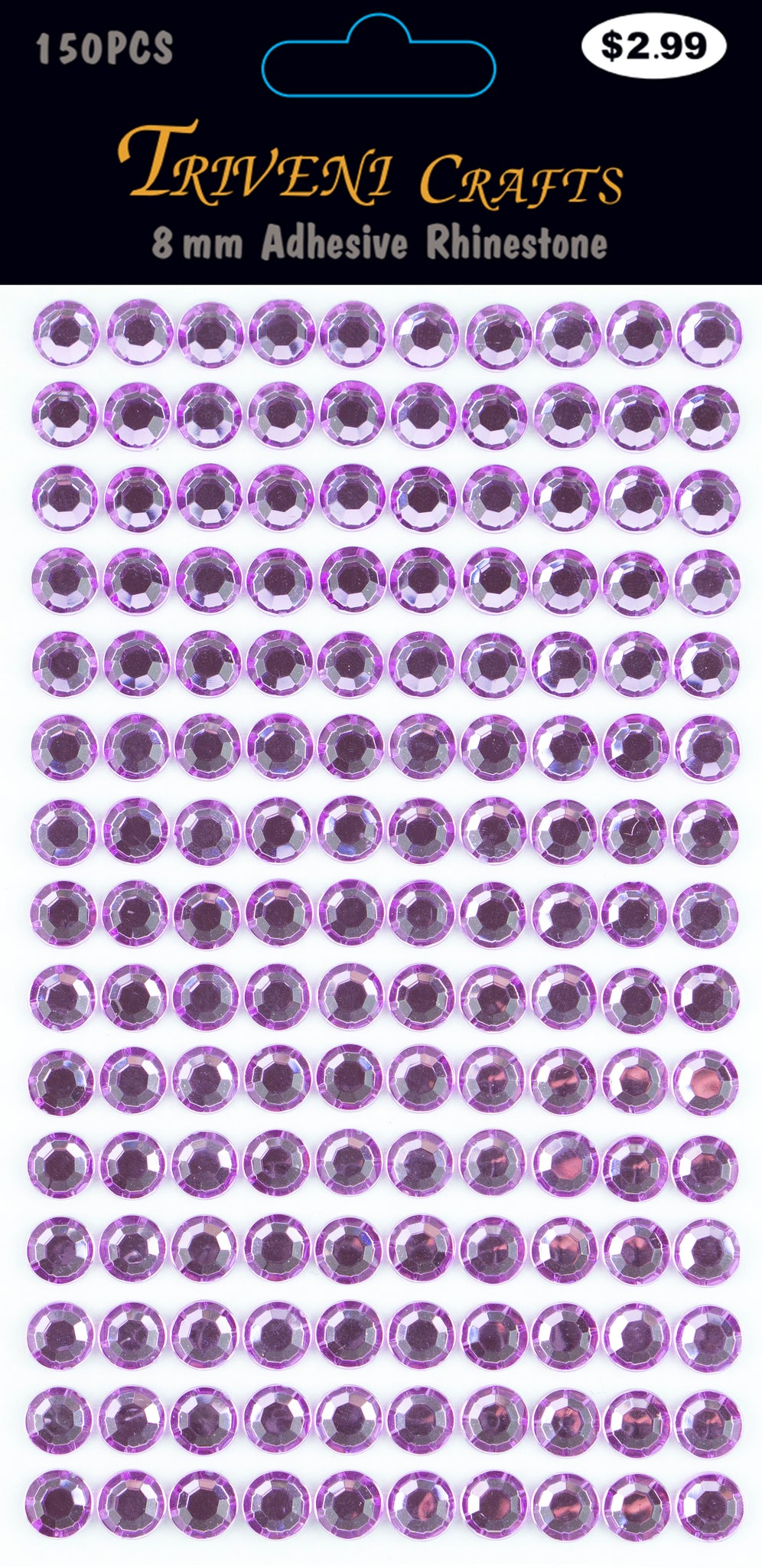 Rhinestone Dot Stickers - 8mm - Lavender