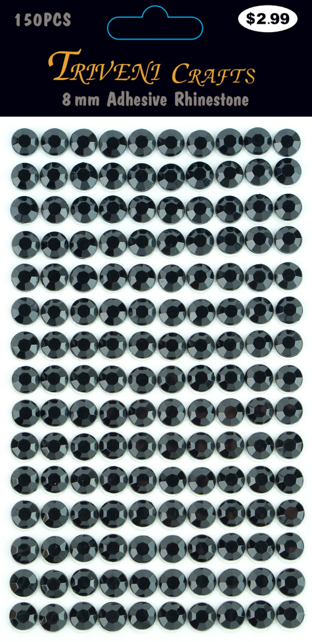 Rhinestone Dot Stickers - 8mm - Jet Black