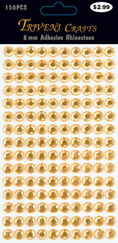 Rhinestone Dot Stickers - 8mm - Orange