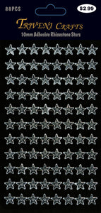 Rhinestone Star Stickers - 10mm - Clear