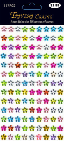 Rhinestone Daisy Flower Stickers - 8mm - Multi