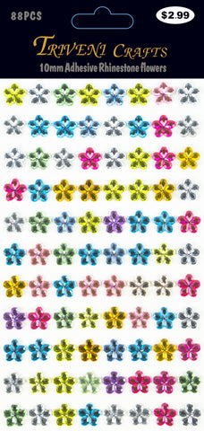 Rhinestone Daisy Flower Stickers - 10mm - Multi