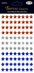 Rhinestone Star Stickers - 10mm - Clear/Red/Blue