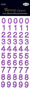Rhinestone Number Stickers - Dark Purple