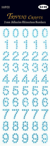 Rhinestone Number Stickers - Turquoise