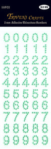 Rhinestone Number Stickers - Green