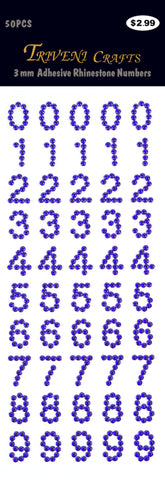 Rhinestone Number Stickers - Amethyst