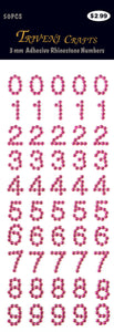 Rhinestone Number Stickers - Fuchsia