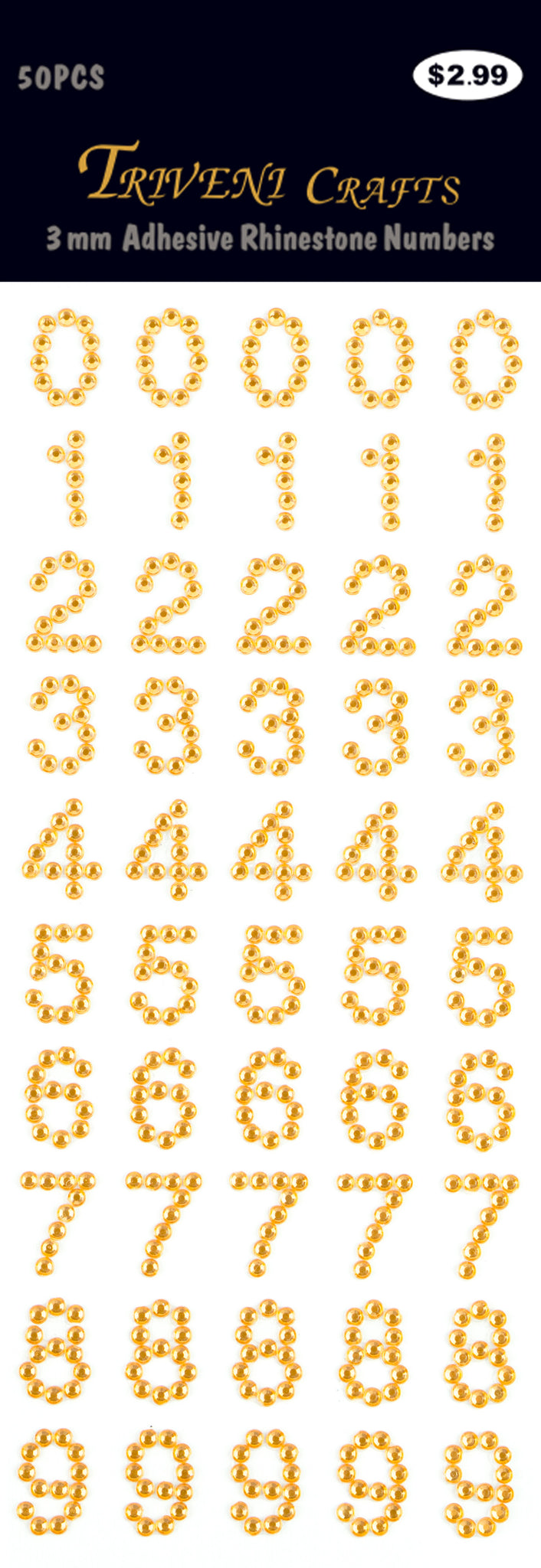 Rhinestone Number Stickers - Orange