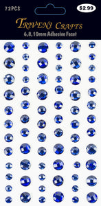 Rhinestone Facet Stickers - 6-10mm - Navy