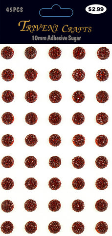 Rhinestone Sugar Stickers - 10mm - Red
