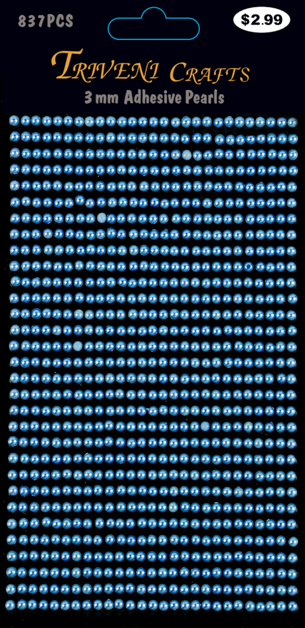 Pearl Dot Stickers - 3mm - Blue