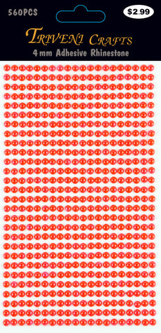 Pearl Dot Stickers - 4mm - Red