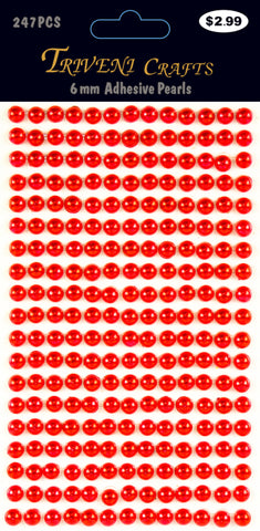 Pearl Dot Stickers - 6mm - Red