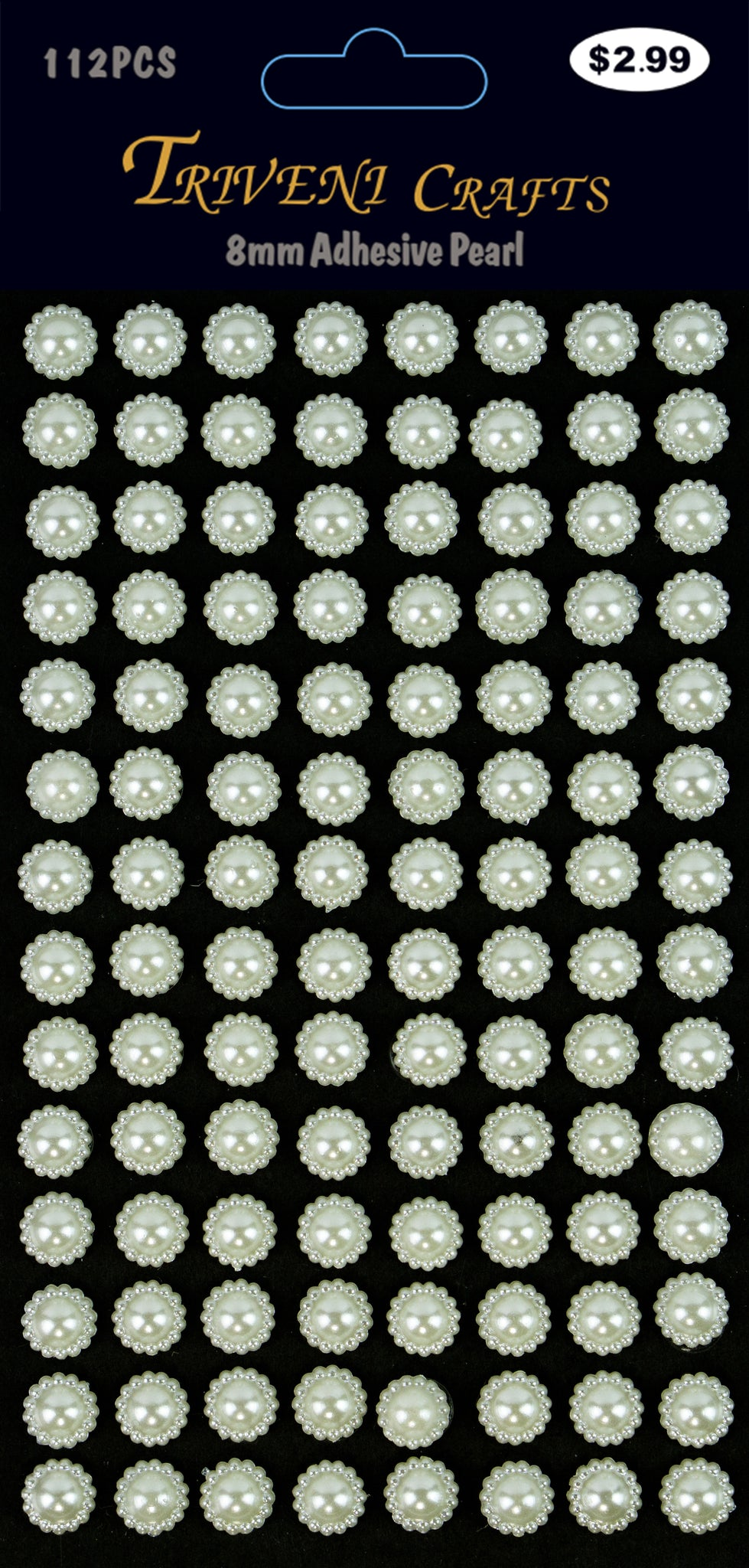 Pearl Sunflower Stickers - 8mm - Cream